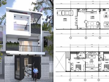 Tham khảo thiết kế mặt tiền nhà phố 3 tầng có gara xe tiện nghi