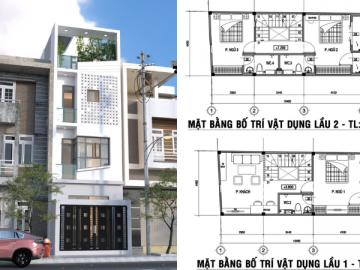 Mặt tiền và bản vẽ kiến trúc nhà phố 4 tầng ở Bình Thạnh