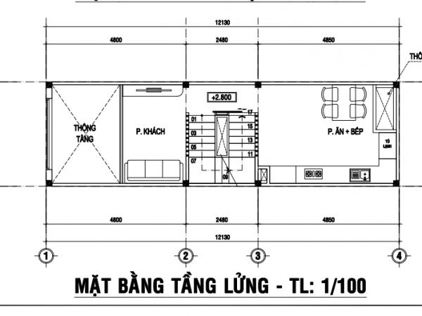 nhà 1 trệt 1 lửng 2 lầu