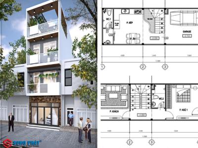 Thiết kế nhà 1 trệt 2 lầu sân thượng 4x12m tại Quận 9