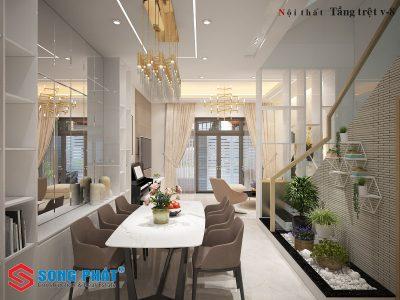 Ấn tượng với thiết kế nội thất nhà phố 1 trệt 1 lầu sân thượng