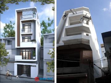 Nhà phố 5 tầng với thiết kế mặt tiền đẹp cùng gara xe tiện nghi