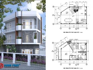 Thiết kế mặt tiền nhà 3 tầng đẹp giải quyết nắng nóng ở Hóc Môn