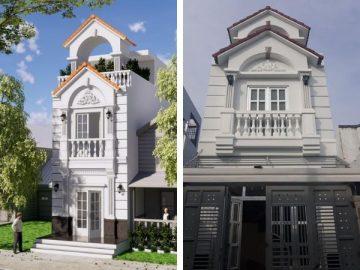 Khám phá thiết kế nhà phố cổ điển đẹp 1 trệt 1 lầu sân thượng