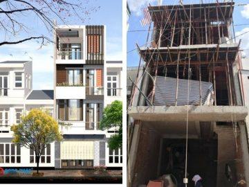 Phát họa kiến trúc và mặt tiền nhà 4 tầng đẹp 40m2 tại Tân Phú
