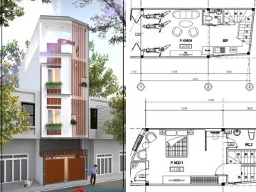 Căn nhà 4 tầng xây trên đất xéo và giải pháp tiết kiệm chi phí