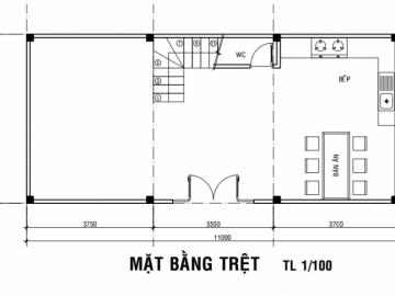 Ý tưởng thiết kế bản vẽ nhà 3 tầng 55m2 với chi phí xây 1 tỷ