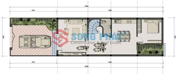 thiết kế nhà ống 2 tầng 5x16m