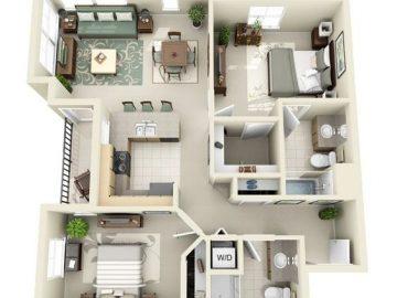 10 ý tưởng phân chia không gian phòng ốc trong căn hộ chung cư đẹp