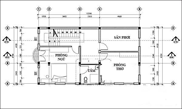 bản vẽ thiết kế nhà 6x12m