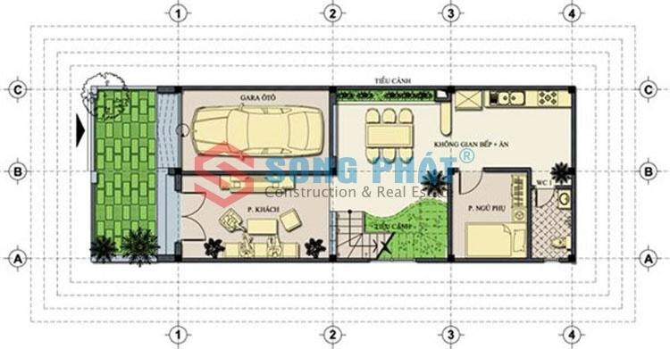 thiết kế nhà ống 3 tầng mặt tiền 6m