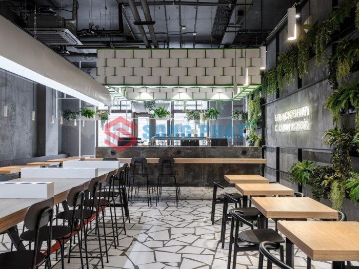 thiết kế nội thất nhà hàng khung thép